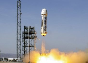 A New Shepard rocket is launches and lands by a Blue Origin on its seventh trip to space